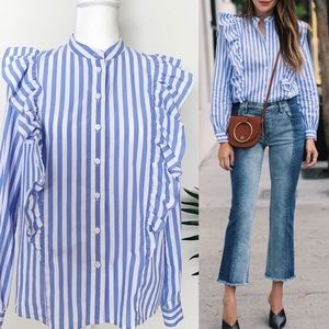 WHO WHAT WEAR Striped Ruffled Long Sleeve Blouse